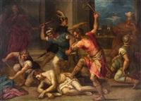geißelung christi, oben links pilatus und seine frau by hans rottenhammer the elder