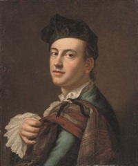 portrait of a gentleman in a blue coat and white lace cuffs, a tartan drape over his left shoulder by scottish school (18)