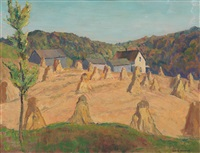 corn shocks, chagrin valley by george g. adomeit