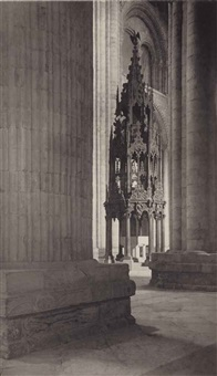 durham cathedral, nave, aisle and font by frederick henry evans