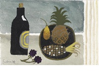 still life with bottle and plate of fruit by mary fedden