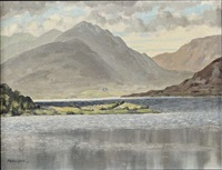 lake and mountain landscape, west of ireland by mabel young