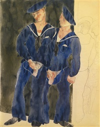 two sailors urinating by charles demuth