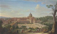 a view of rome with saint peter's basilica by hendrick frans van lint