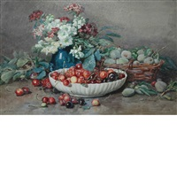 still life of flowers and fruit by françois rivoire