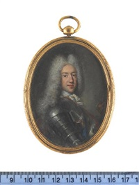 james francis edward stuart wearing suit of armor, blue sash, gold medal, red lined ermine mantle, white stock and lace cravat, powdered wig by antonio david