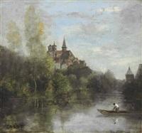 semur - le cathédrale vue de l'armançon by jean-baptiste-camille corot