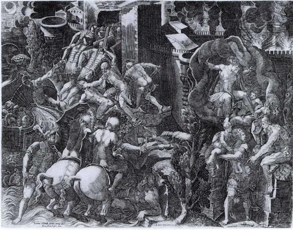 les grecs entrant dans la ville de troye énée se sauvant by giovanni battista ghisi