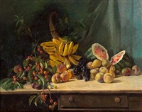 still life with cherries, bananas, watermelon and other fruit on a table by william hubacek