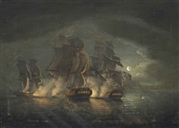 an anglo-french engagement by moonlight by francis swaine