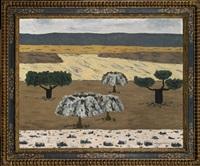 paisaje con encinas y olivos plateados by godofredo ortega muñoz