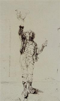 ragazzo in costume in piedi che alza il cappello by michele la spina