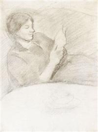 elisabeth mit tasse, lesend by august macke