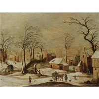 a village scene in winter with peasants unloading a cart in the foreground, and a horse and carriage on a path to the left by joos de momper the elder