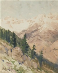 western landscape by charles partridge adams