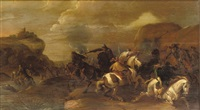 a cavalry skirmish in a rocky landscape by simon johannes van douw
