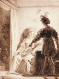 scène troubadour : les amants surpris by alexandre-évariste fragonard