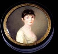 portrait de jeune femme en robe de soie ivoire et coiffée de fines mèches by pierre louis bouvier