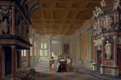 an elegant company dining in a richly decorated palace interior by dirck van delen