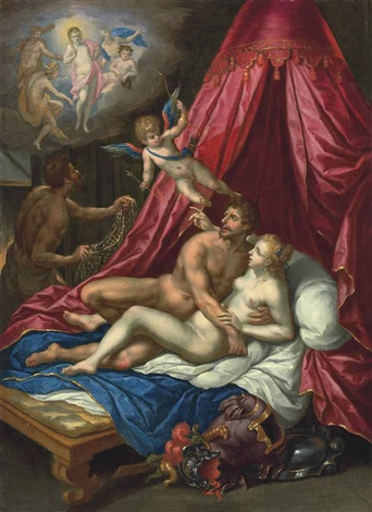 mars and venus surprised by vulcan cupid and apollo by hendrick de clerck