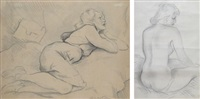 woman lying (+ nude sitting; 2 works) by ion valentin anestin