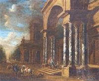 couple seigneurial descendant les marches d'un palais et se dirigeant vers les chevaux que tiennent leurs palefreniers by jacobus balthasar peeters