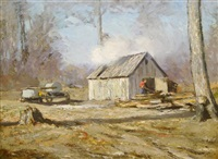 man near shack by clifton a. wheeler