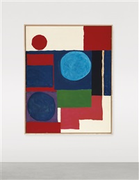 blue in blue with red and white by patrick heron