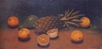 bodegón de piña, naranjas y aguacate by juan gutiérrez