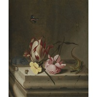 still life with a parrot tulip, a pink rose, a mouse, a lizard and a bee on a stone pedestal, with a red admiral and a spider on its web above by jan baptist fornenburgh