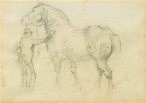 studies of men and horses (pair) by raymond (louis) le court