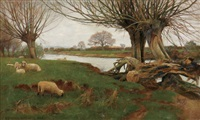 sheep grazing along the river by ernest gabriel mitchell