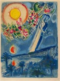 fiancés dans le ciel de nice by marc chagall