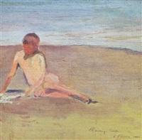 niña en la playa by carlos maría herrera