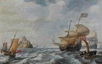 vaisseaux le long d'un château sur un îlot entouré de dauphins by bonaventura peeters the elder