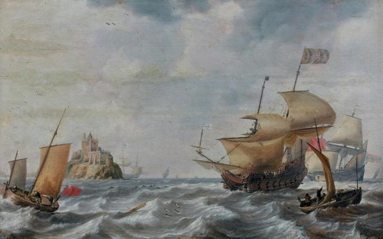 vaisseaux le long dun château sur un îlot entouré de dauphins by bonaventura peeters the elder