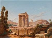blick auf die acropolis und den tempel des juppiter by j.m. leitzmann