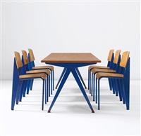 compas cafeteria table, model no. 512 (from the electricité de france, marcoule) by jean prouvé