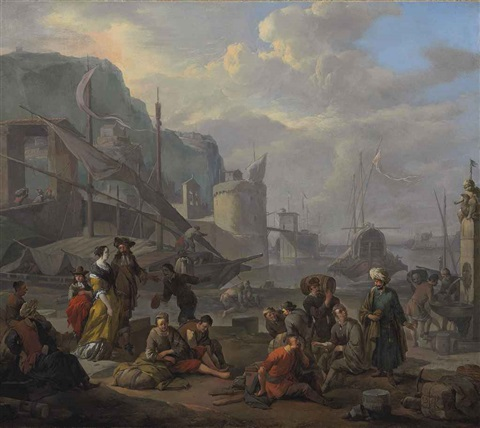 a mediterranean port with an elegant couple and travelers resting by the quay by johannes lingelbach
