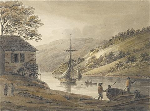 on the river tamar from calstock passage looking up by hubert cornish