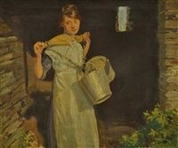 a cornish milk maid by frederick william leist
