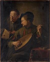 joueur de luth et vieil homme tenant une partition by jacques des rousseaux