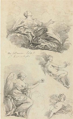 angels making music, after francesco solimena by jean honoré fragonard