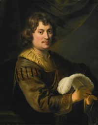 portrait of a man, holding a white plume by ferdinand bol