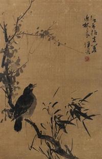 拟林良笔意 镜心 设色绢本 (bird on the branch) by wang rong