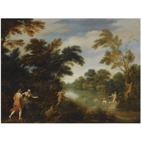 a wooded river landscape with diana and her nymphs bathing by alexander keirincx