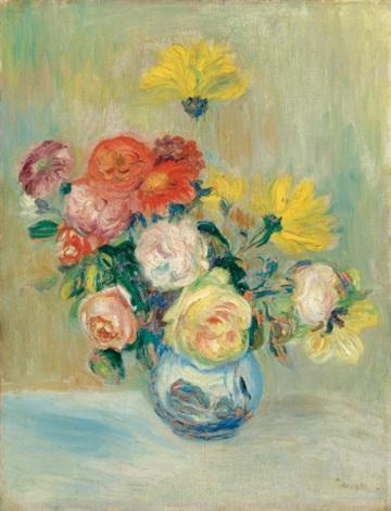 vase de roses et dahlias by pierre auguste renoir