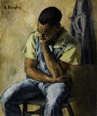 untitled - seated man with head resting (from boy with toy plane) by aaron douglas