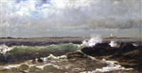 seascape with lighthouse by william formby halsall