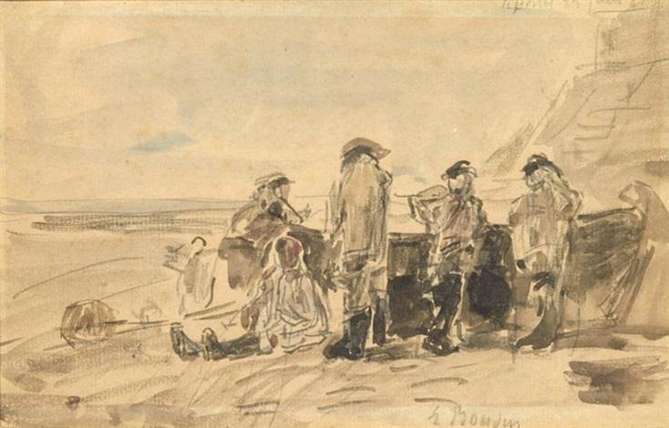 pecheurs et leur barque by eugène boudin